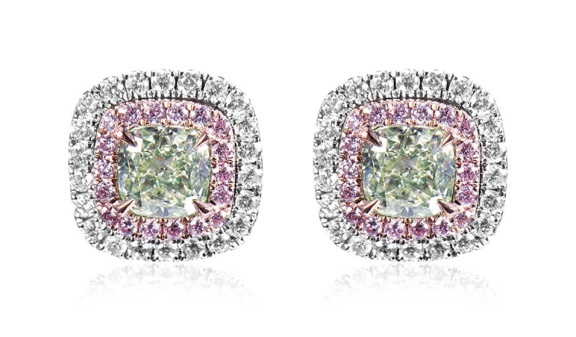 Fancy Green Diamond Earrings