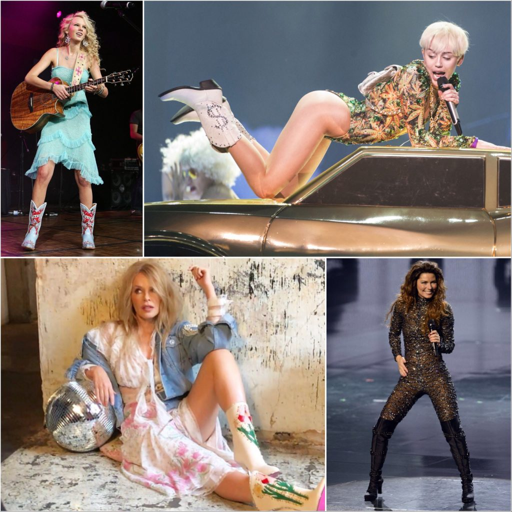 Cowboy boot music style from Taylor Swift, Miley Cyrus, Kylie Minogue and Shania Twain
