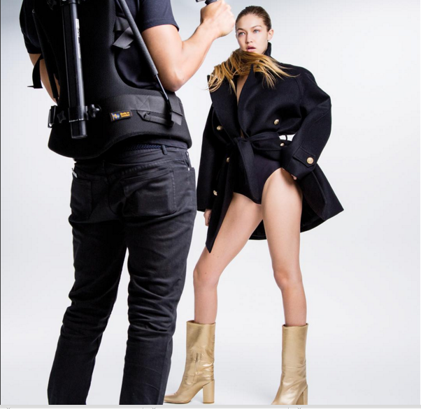 Gigi Hadid Gold Stuart Weitzman Calf Boots